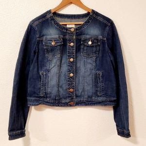Elle Blue Partly Faded Long Sleeves Denim Jacket